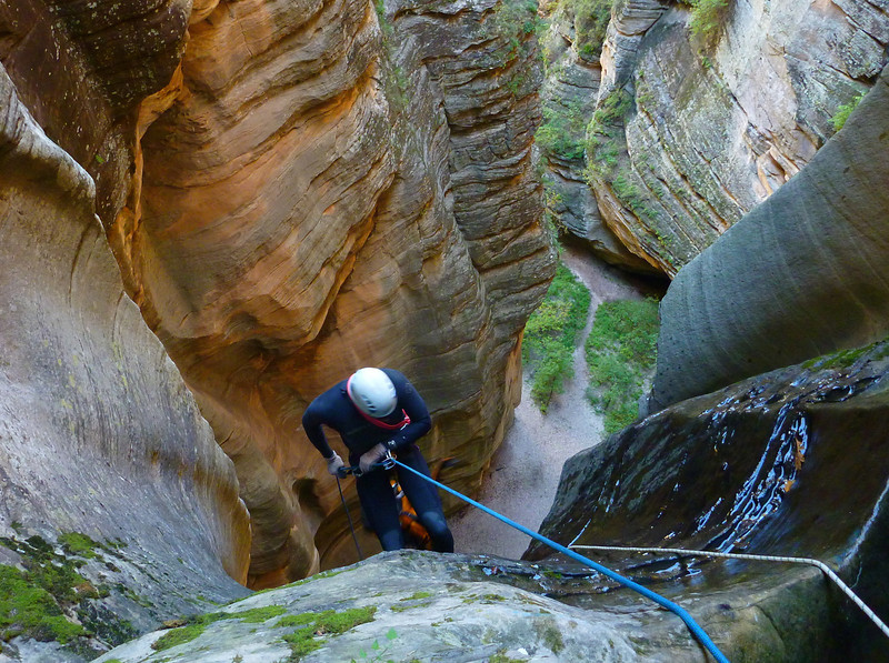 Sundance Canyon - the top of the 180-foot free rappel