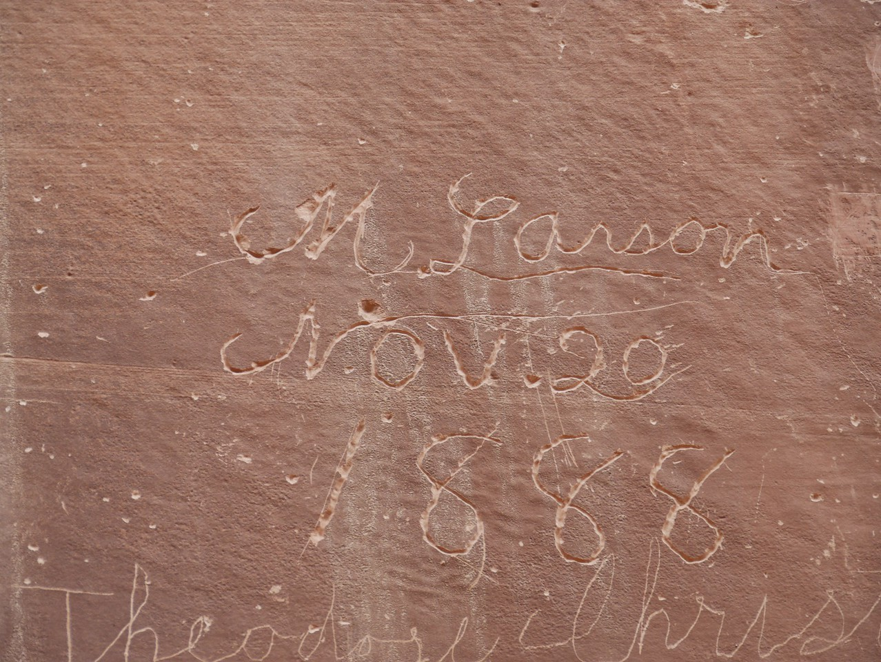Capitol Gorge hike - Old inscriptions in the canyon.