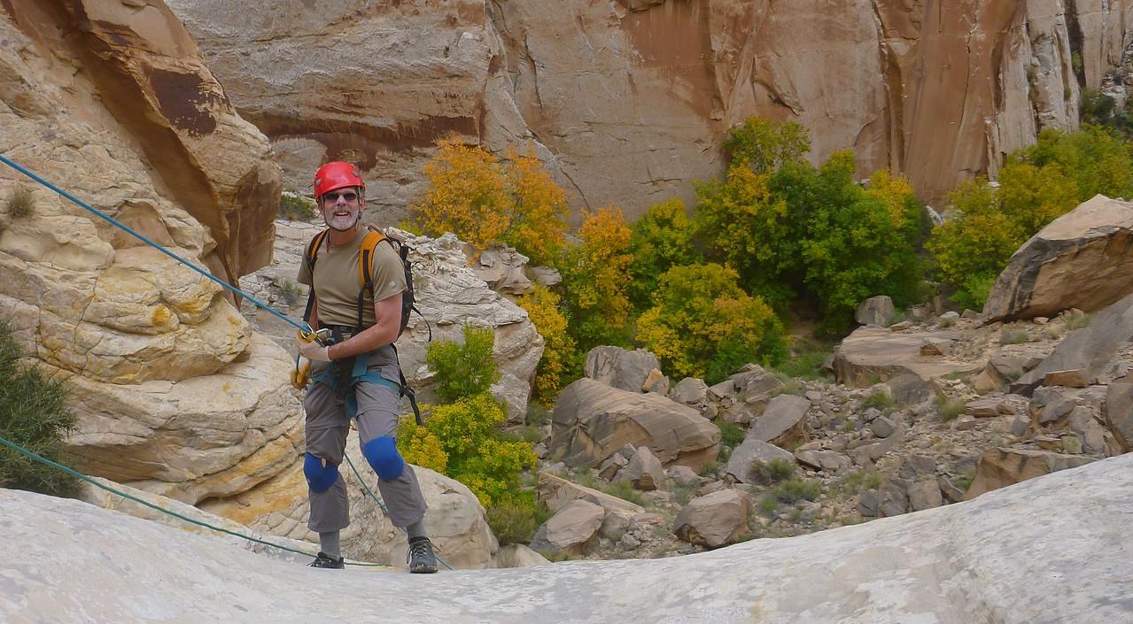 Right Fork Stegosaur Slot canyon descent - Craig on the final rappel.