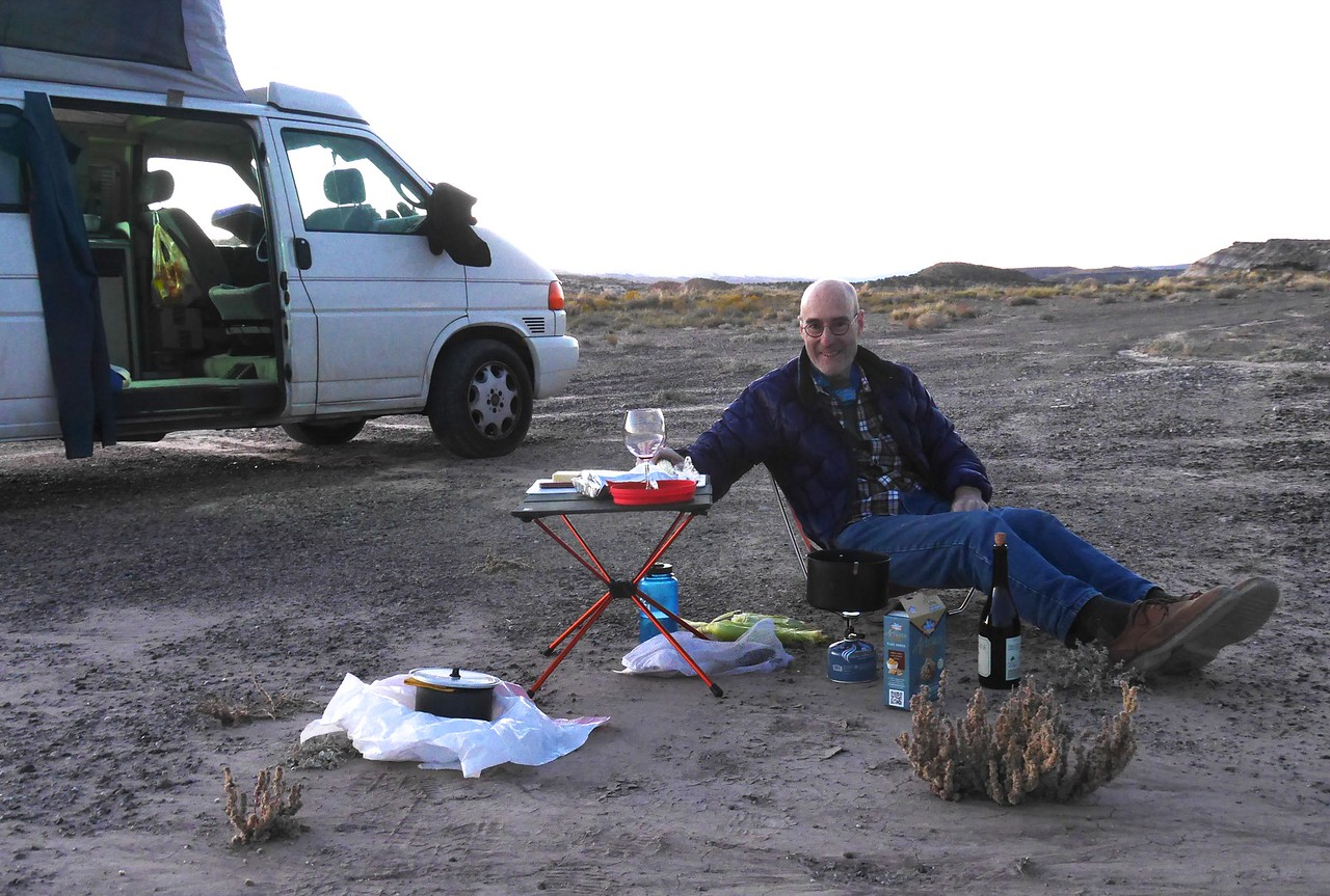 Old Notom Road campsite - Jim has a nice table for his wine glass.