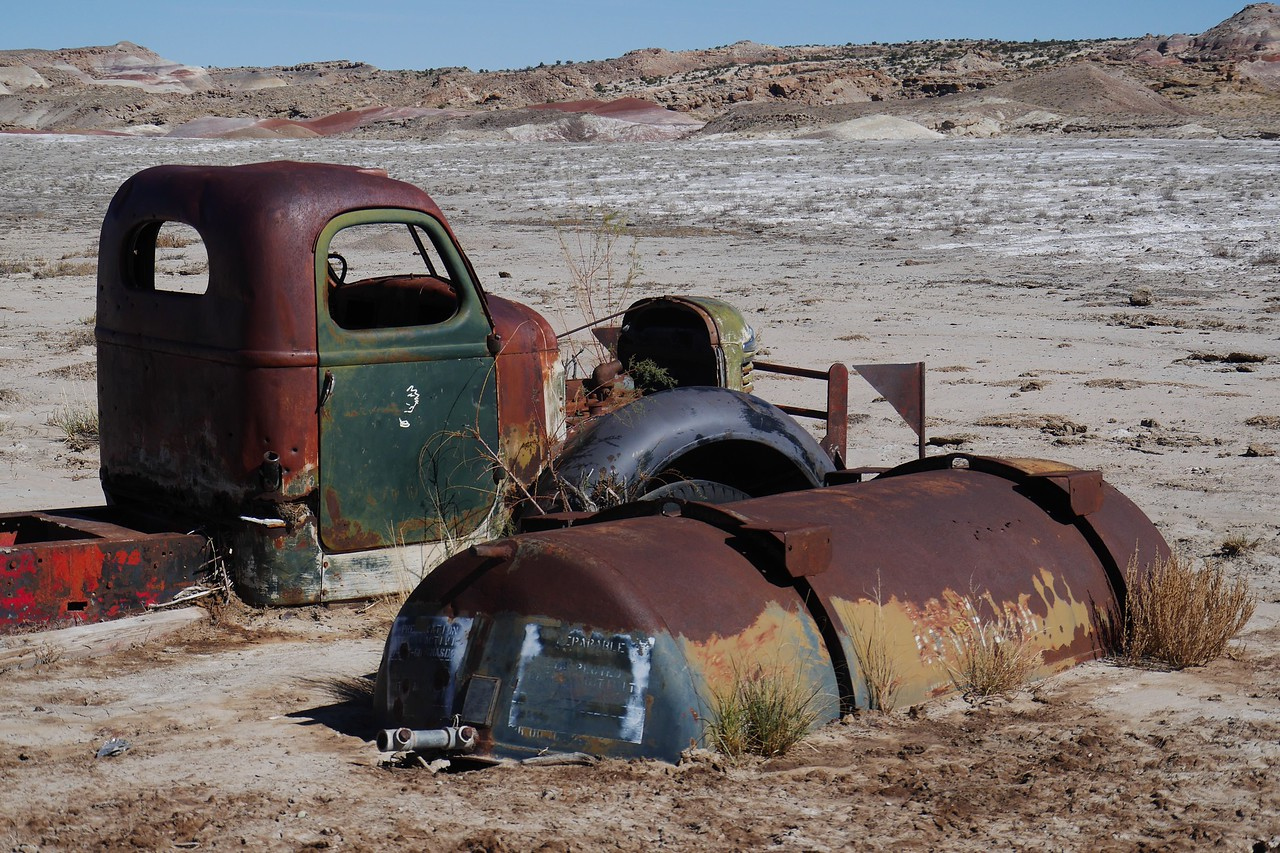 Cathedral Valley drive - We visited an old truck next to a running spring early in the drive.