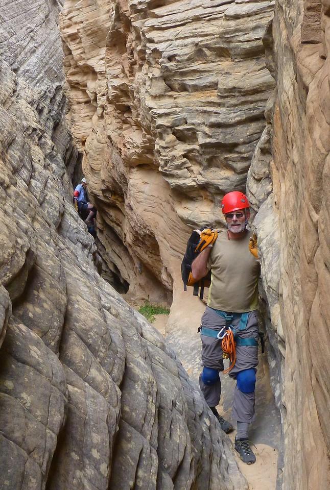 Right Fork Stegosaur Slot canyon descent.