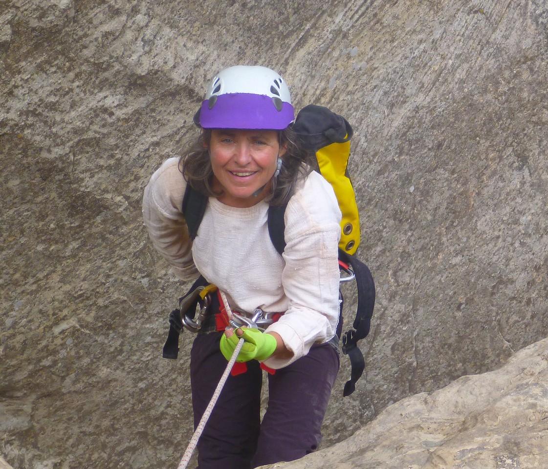 Right Fork Stegosaur Slot canyon descent. Helga on rappel.