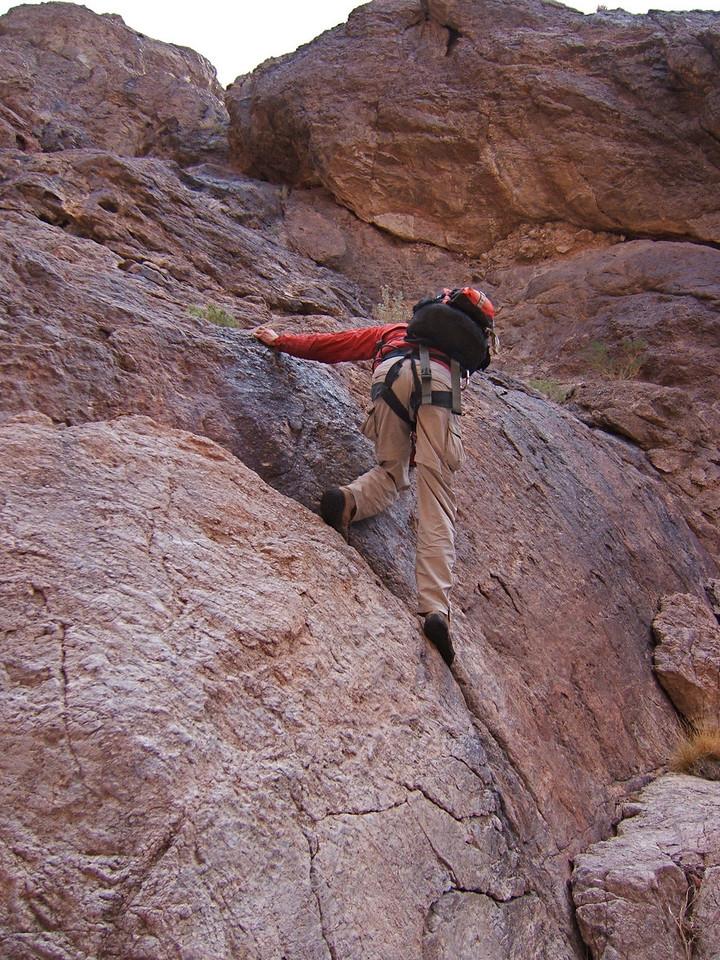 Jeff F downclimbing