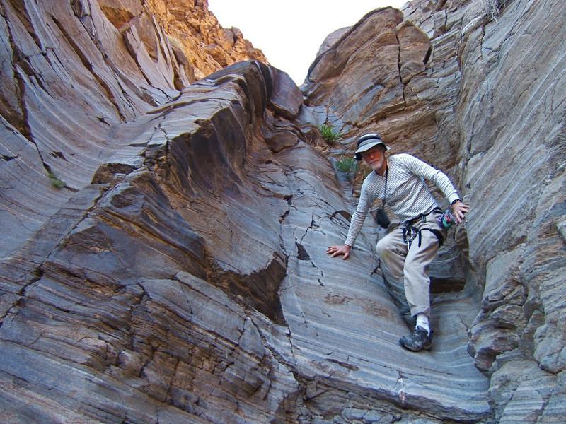 Ron Hudson downclimbing