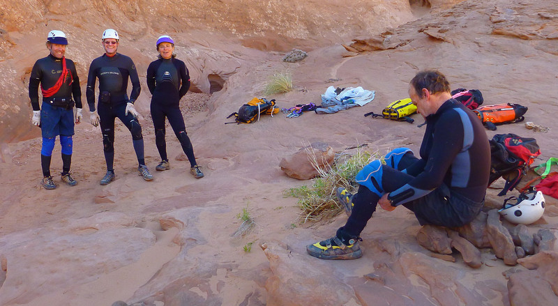 Day 1 - Fooling Around - Getting ready for the Watery Slot. After putting on our wetsuits, we left our packs here. We exited on the South side after the Watery Slot and returned to our packs before hiking back to the cars. We didn't do the last rappel.