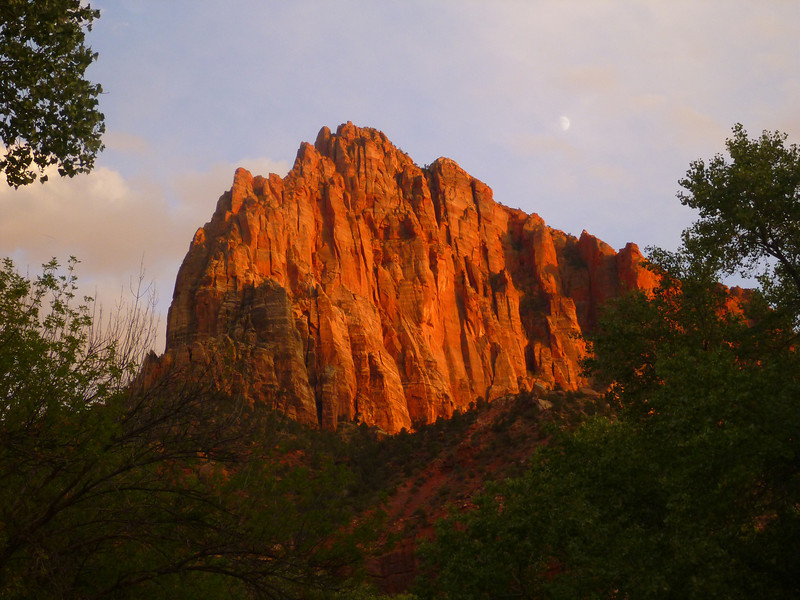 Sunset view from the Watchman Campground in Zion