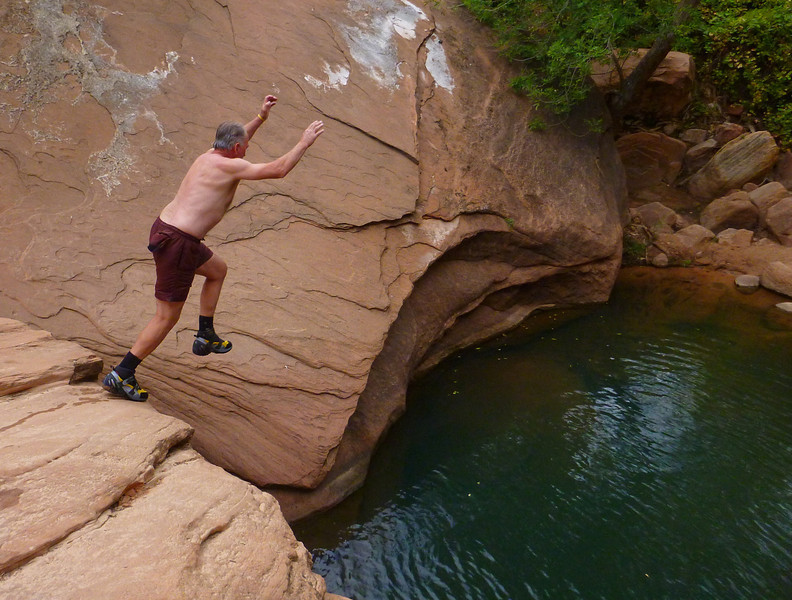 Pine Creek Descent<br /> Bob cooling off as we hike out