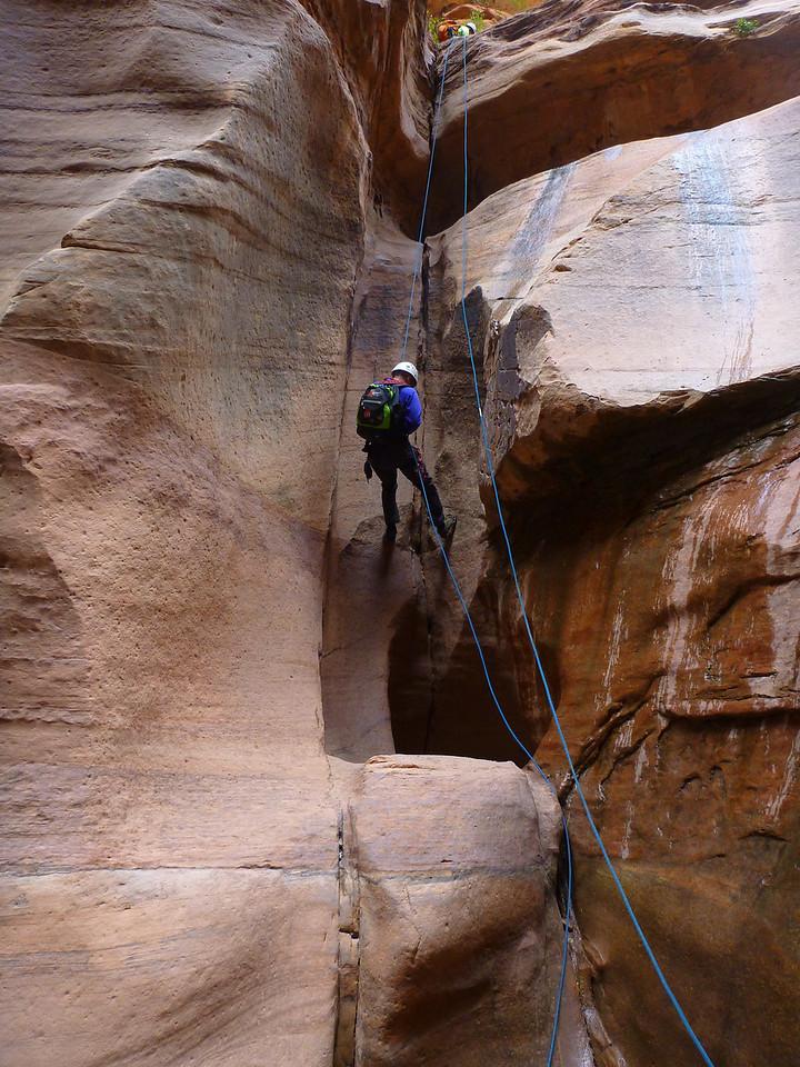 Pine Creek Descent<br /> Bob rappelling