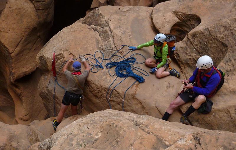 Pine Creek Descent<br /> Bob setting up the last rappel