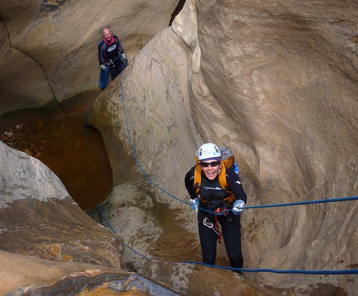 Pine Creek Descent<br /> Sue rappelling