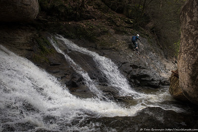 Damo scrambling around some cascades