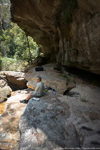 Lunch on rock shelves in the slabby section of creek