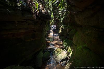 Rachel in the narrow, shallow canyon