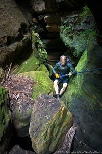 Glover on the tricky third abseil