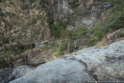 James abseiling Jerrara Falls