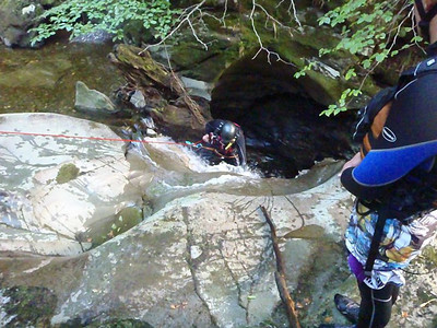 Canyoning in the Falls of Acharn, near Kenmore in Perthshire, Scotland. http://canyoning.co.uk