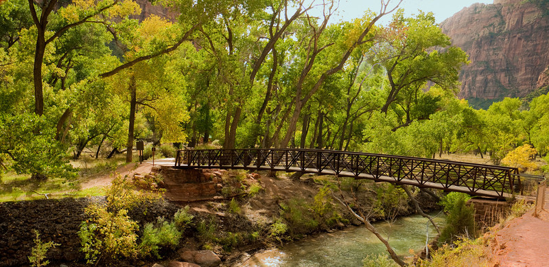 Bridge over Virgin River -- the trail to Emerald Pools.
