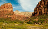Zion: the shuttle buses give scale -- and keep out the cars.  They take us to all the trailheads we could ever want.