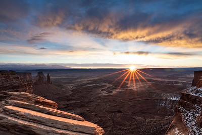Winter sunrise over Canyonlands and the White Rim shot from Mesa Arch vicinity.