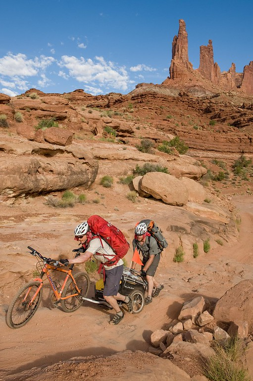 It took teamwork and determination to continue down the White Rim Trail with one broken trailer and some extremely rough terrain on Pat Goodman and Christian Peterson's epic human supported climbing trip deep into Canyonlands National Park.