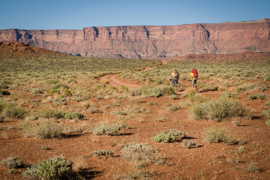 Heading out to climb Washer Woman Tower in Canyonlands on their human powered adventure.