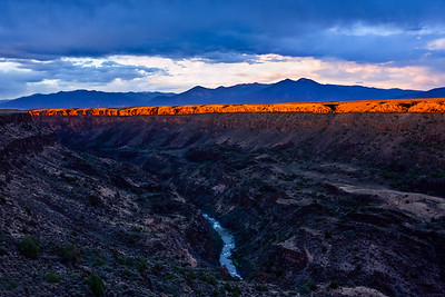 Sunset over Rio Grande Gorge, near Pilar, New Mexico.