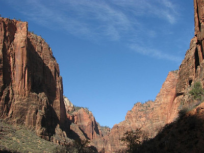 Toward the upper end of the canyon (Looking north from our location)  See  The Great White Throne.