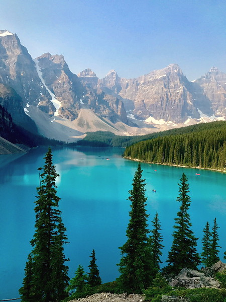 "08/08/17: The view of these mountains behind Moraine Lake in the Valley of the Ten Peaks is known as the ""Twenty Dollar View"", as Moraine Lake was featured on the reverse side of the 1969 and 1979 issues of the Canadian twenty dollar bill."