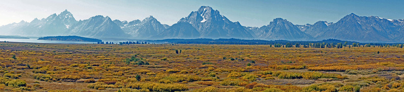 09/25/11: Panoramic view of the Teton Range from Jackson Lake Lodge.