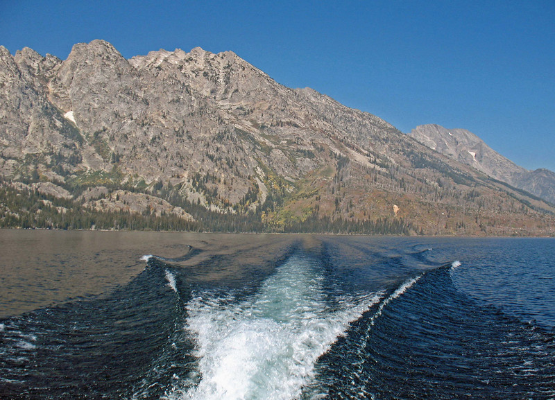 Departing the trailhead by ferry on Jenny Lake.