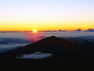 A beautiful morning begins on the summit of Haleakala.