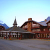 The Many Glacier Hotel was designed to resemble Swiss Chalet architecture.