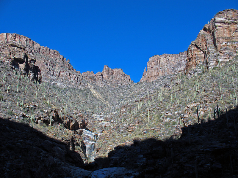Seven Falls consists of a seven-tiered waterfall in the middle of the high Sonoran Desert, located within the Coronado National Forest. What remains amazing to me is the trail head starts at the Sabino Canyon Visitor Center, which is approx.1 mile from the entrance of our neighborhood.