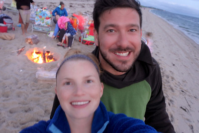 TJ and Caitlin at the Beach Fire