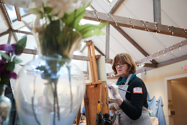 Laurel Ziehl takes part in the Creative Community Paint-Ins at The Rockport Art Association & Museum on Sunday, January 21, 2018. Jared Charney / Photo