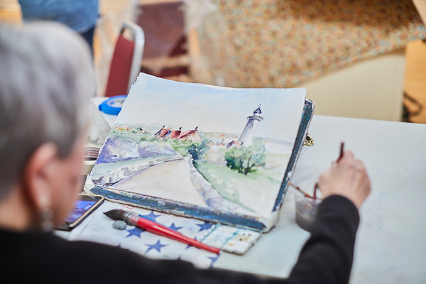 Phyllis Kaplan shows off her water color skills at the Creative Community Paint-Ins at The Rockport Art Association & Museum on Sunday, January 21, 2018. Jared Charney / Photo
