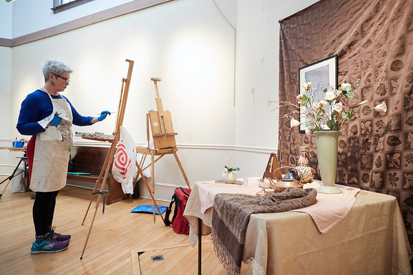 Rosemary Sullivan takes part in the Creative Community Paint-Ins at The Rockport Art Association & Museum on Sunday, January 21, 2018. Jared Charney / Photo