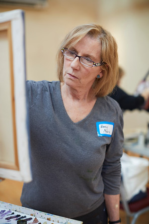 Nancy Molvig takes part in the Creative Community Paint-Ins at The Rockport Art Association & Museum on Sunday, January 21, 2018. Jared Charney / Photo
