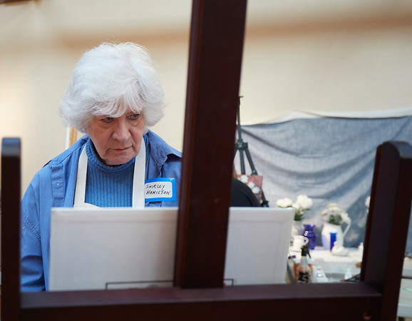 Shirley Hamilton takes part in the Creative Community Paint-Ins at The Rockport Art Association & Museum on Sunday, January 21, 2018. Jared Charney / Photo