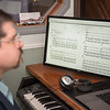 AMANDA SABGA/Staff photo<br /> <br /> Gloucester composer Robert Bradshaw at his home studio. <br /> <br /> 1/30/19