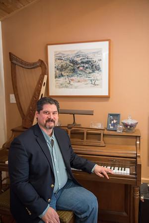 AMANDA SABGA/Staff photo<br /> <br /> Gloucester composer Robert Bradshaw at his home studio. <br /> <br /> 1/30/19