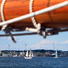AMY SWEENEY/Staff photo<br />  The Ardelle sails in Gloucester Harbor with the Adventure. The National Historic Landmark Schooner Adventure is commissioned and sailing once again from Gloucester's harbor.