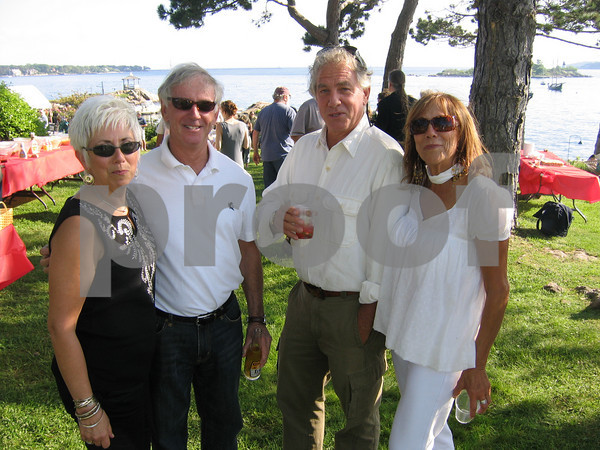 From left are Mary Sue Santos, Bob Havern, Ira Crowe and Gay Raftery at Richard Rosenfeld celebrates his birthday on Rocky Neck, May 30, 2009. Photo by Gail McCarthy