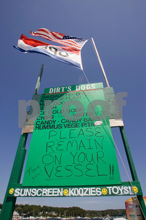 Gloucester: Dirt's Dogs on the Annisquam River is open on weekends in the summer serving hotdogs and slush to boaters only. Staff photo by Mary Muckenhoupt