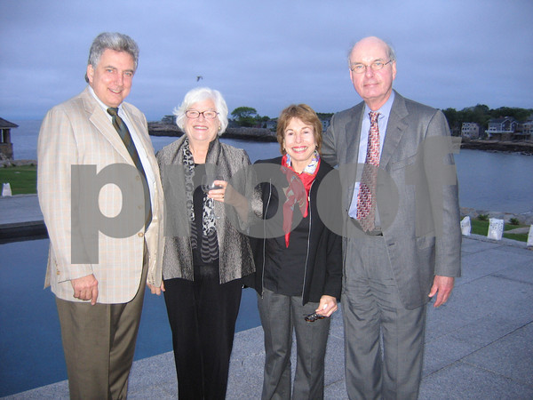 Tom Burger, Susan Gray, Paula Mae Schwartz, and Alec Dingee A fundraising event for Rockport Music at a Beach Street home on June 11, 2009.   Photo by Gail McCarthy