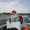 Gloucester: Dirt Murray heads out to his houseboat, which he calls magical. Staff photo by Mary Muckenhoupt.