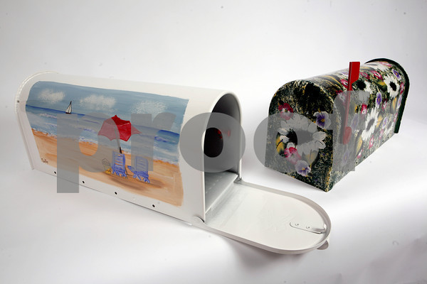 These mailboxes are handpainted by Pauline Bresnahan, $65.  Available at Pauline's Gift Shop, 512 Essex Avenue, Gloucester. 978-281-5558. www. paulinesgiftshop.com