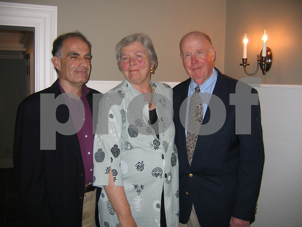 From left are Amnon Goldman, Carol Ackerman and Jerry Ackerman A fundraising event for Rockport Music at a Beach Street home on June 11, 2009 at a private Beach Street home<br /> <br />  Photo by Gail McCarthy
