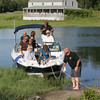 Essex: Glen and Mary Helen MacLeod take friends on a boat ride for dinner in Essex. Friends are Trish and Frank Dunton, Seth and Kelly Cutter, and George and Claire Hobbs were aboard.Staff photo by Mary Muckenhoupt
